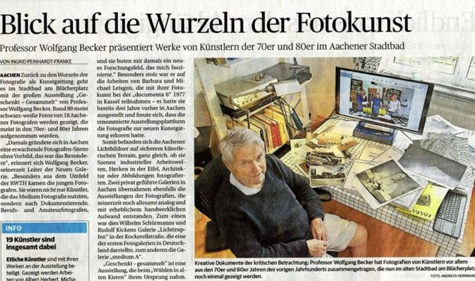 Ein Ausschnitt aus einem Zeitungsartikel über die Wurzeln der Fotokunst.