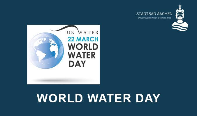 Das Logo des Weltwassertages auf einem blauen Hintergrund.